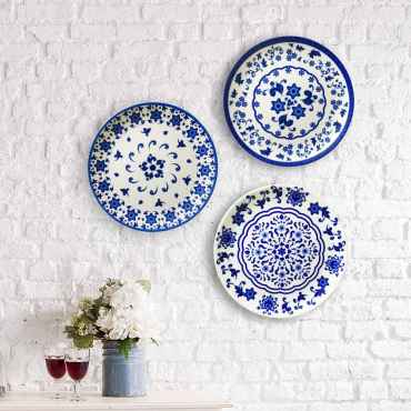 Ceramic Wall Plates Blue Flowers
