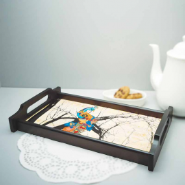 Charismatic Peacock Medium Wooden Tray