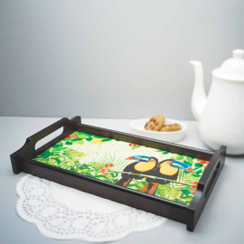 Tropical Rain Forest World Toucan Inspired Wooden Tray