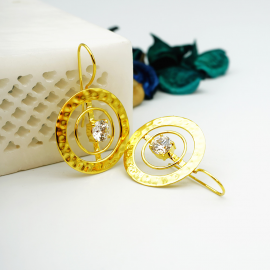 Kolorobia Gold Plated Cocktail Jewelry Earrings For Women with White Swarovski