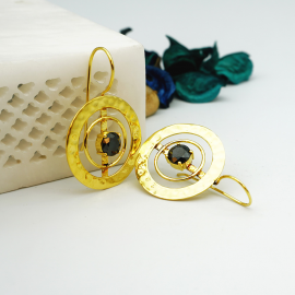 Kolorobia Gold Plated Cocktail Jewelry Earrings For Women with Black Swarovski