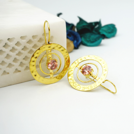 Kolorobia Gold Plated Cocktail Jewelry Earrings For Women with Pink Swarovski