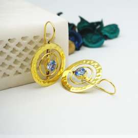 Kolorobia Gold Plated Cocktail Jewelry Earrings For Women with Arctic Blue Swarovski