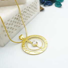 Kolorobia Gold Plated Cocktail Jewellery Pendant with Chain For Women with White Swarovski