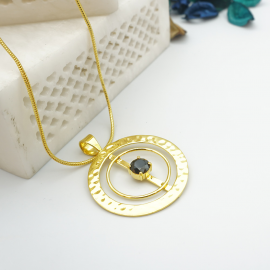 Kolorobia Gold Plated Cocktail Jewelry Pendant with Chain For Women with Black Swarovski