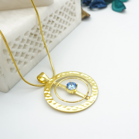 Kolorobia Gold Plated Cocktail Jewelry Pendant with Chain For Women with Arctic Blue Swarovski