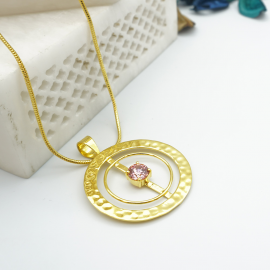 Kolorobia Gold Plated Cocktail Jewelry Pendant with Chain For Women with Pink Swarovski