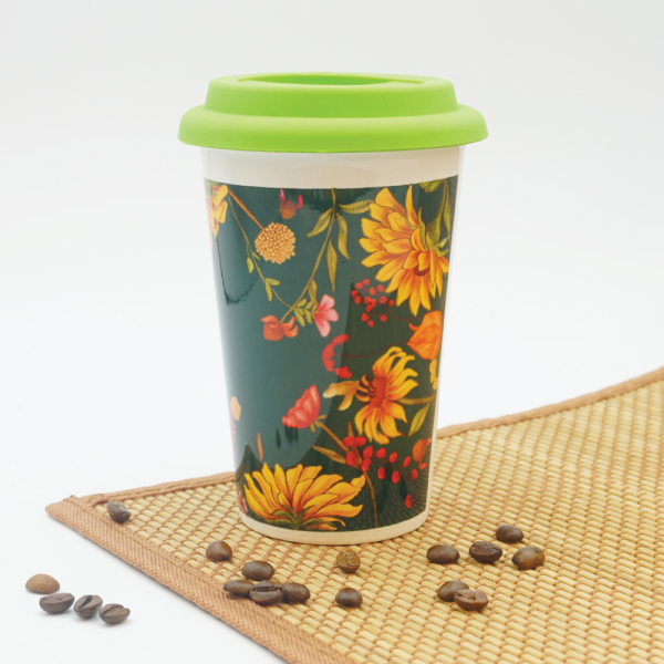 Floral Bliss Green Cafe Mug