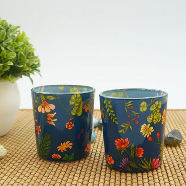 Floral Bliss Blue Candle Votives
