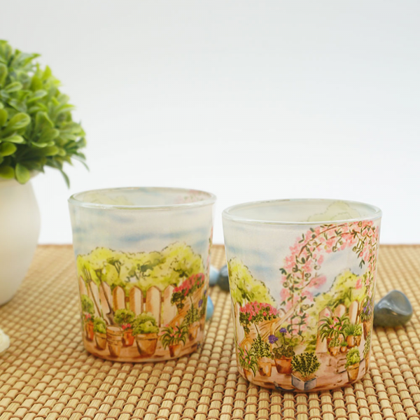 English Flower-Adorned Garden Candle Votives