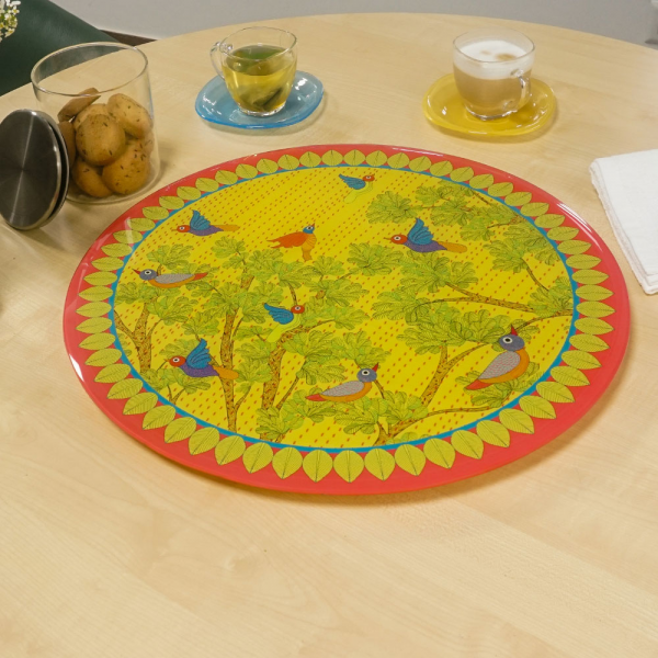"Gond Art Inspired ""LAZY SUSAN"" Turn Table"
